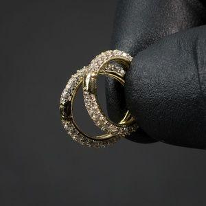 Men's Fully Iced Thin Gold Iced  Cz Hoop Earrings